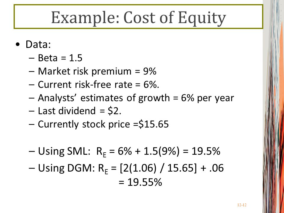 Example: Cost of Equity