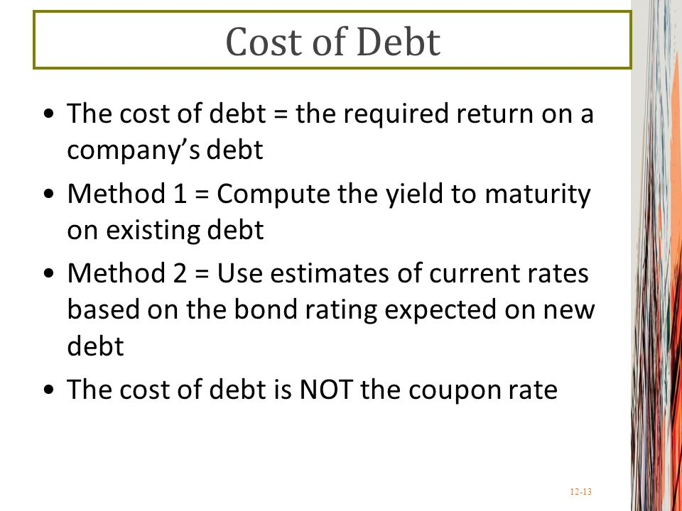 Cost of Debt The cost of debt = the required return on a company's debt. Method 1 = Compute the yield to maturity on existing debt.
