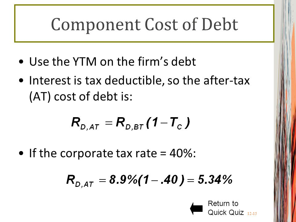 Component Cost of Debt Use the YTM on the firm's debt