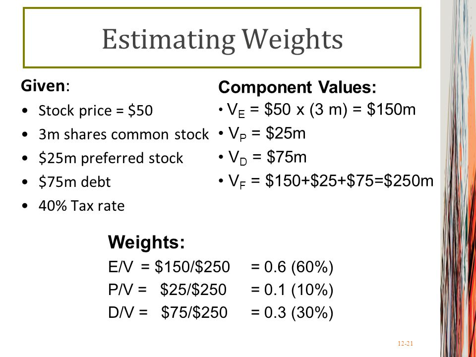 Estimating Weights Given: Weights: Component Values: Stock price = $50