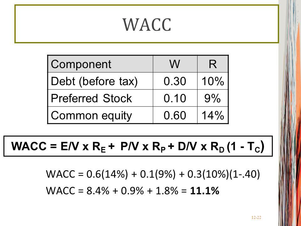 WACC = E/V x RE + P/V x RP + D/V x RD (1 - TC)