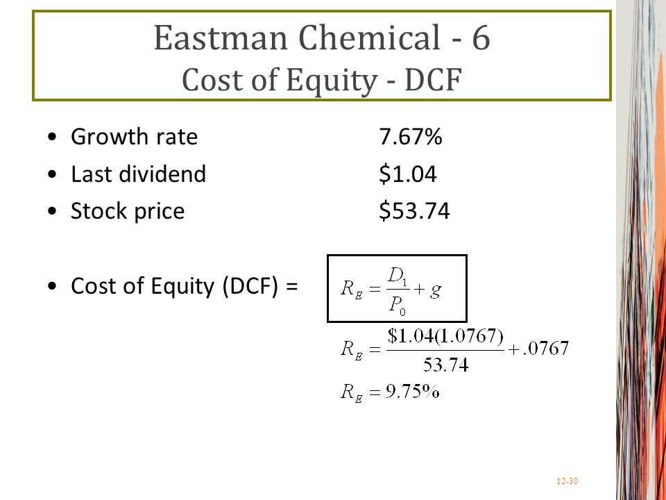 Eastman Chemical - 6 Cost of Equity - DCF
