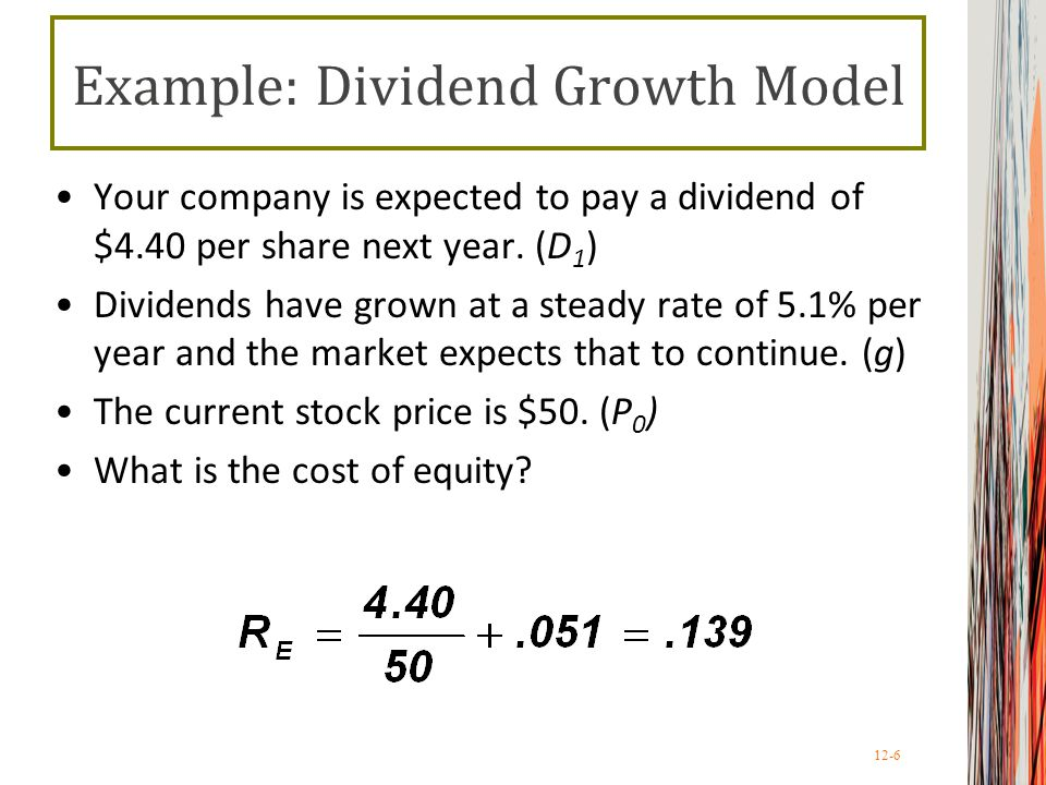 Example: Dividend Growth Model