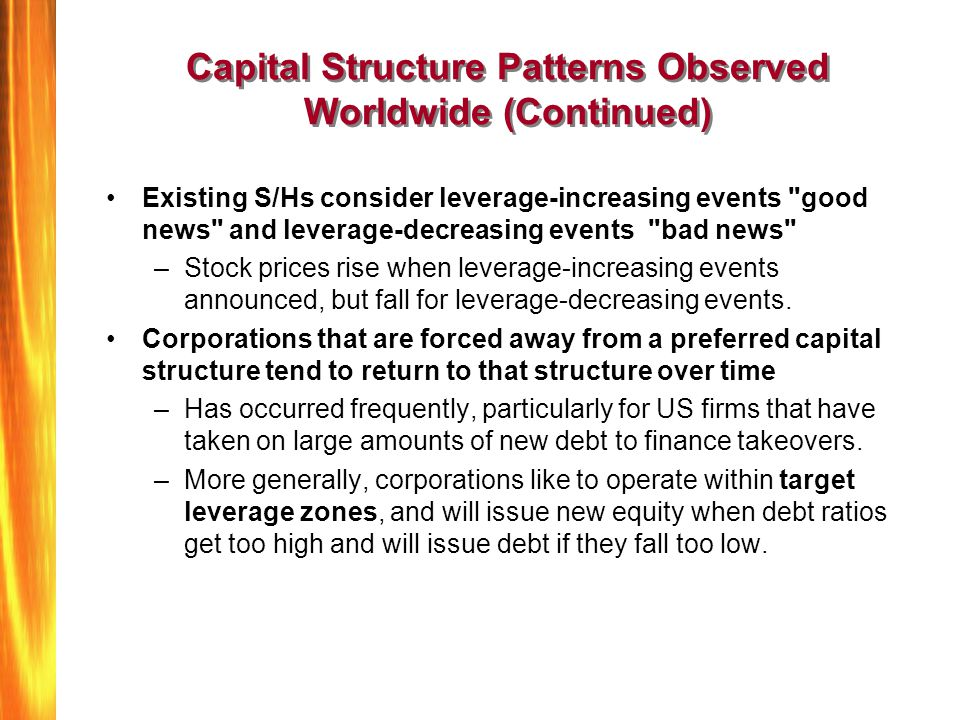 Capital Structure Patterns Observed Worldwide (Continued)