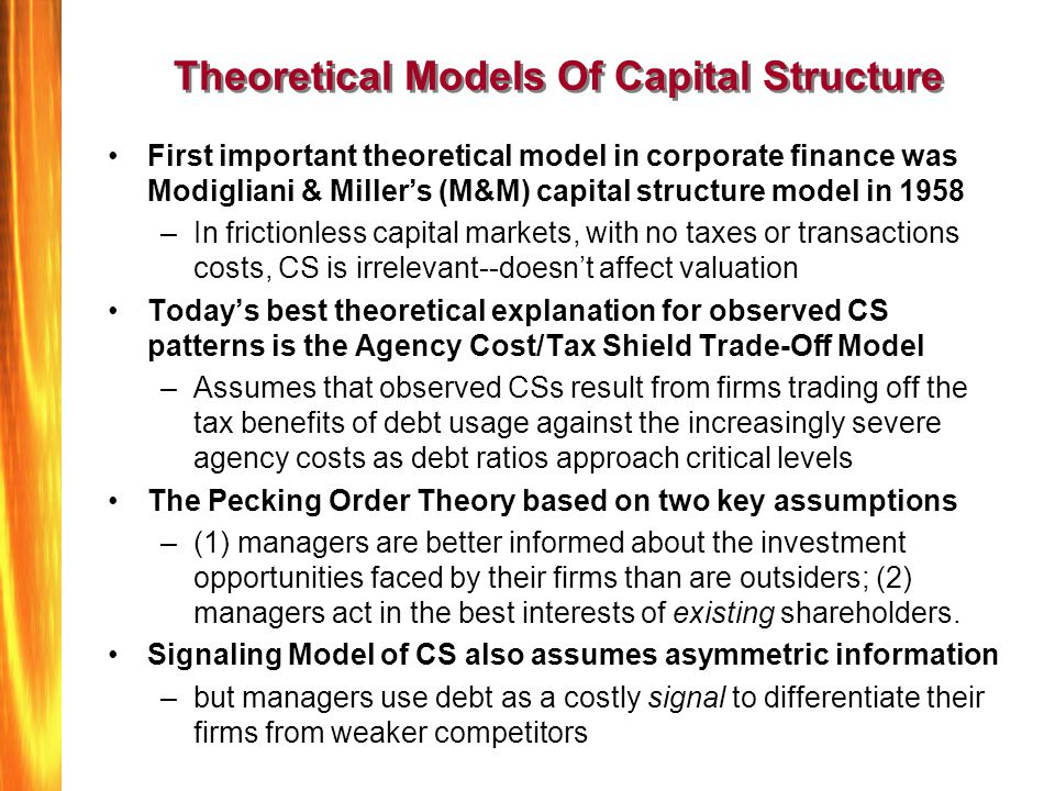 Theoretical Models Of Capital Structure