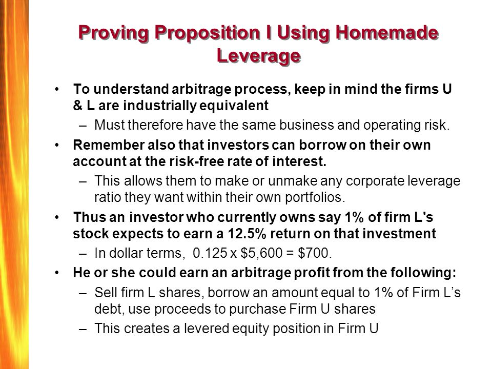 Proving Proposition I Using Homemade Leverage