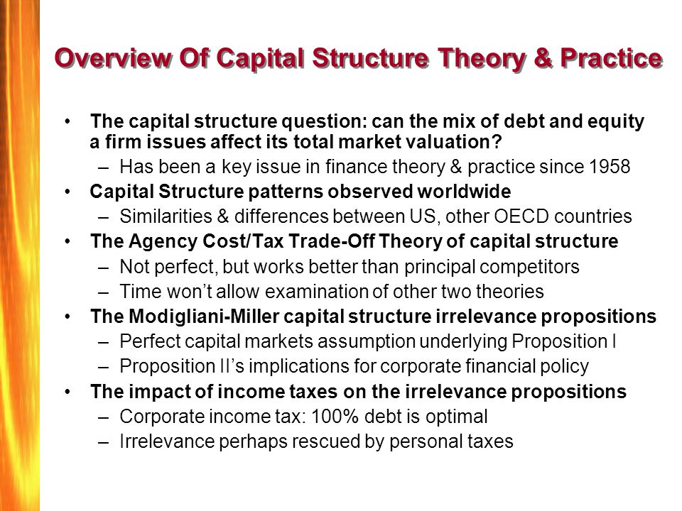 Overview Of Capital Structure Theory & Practice