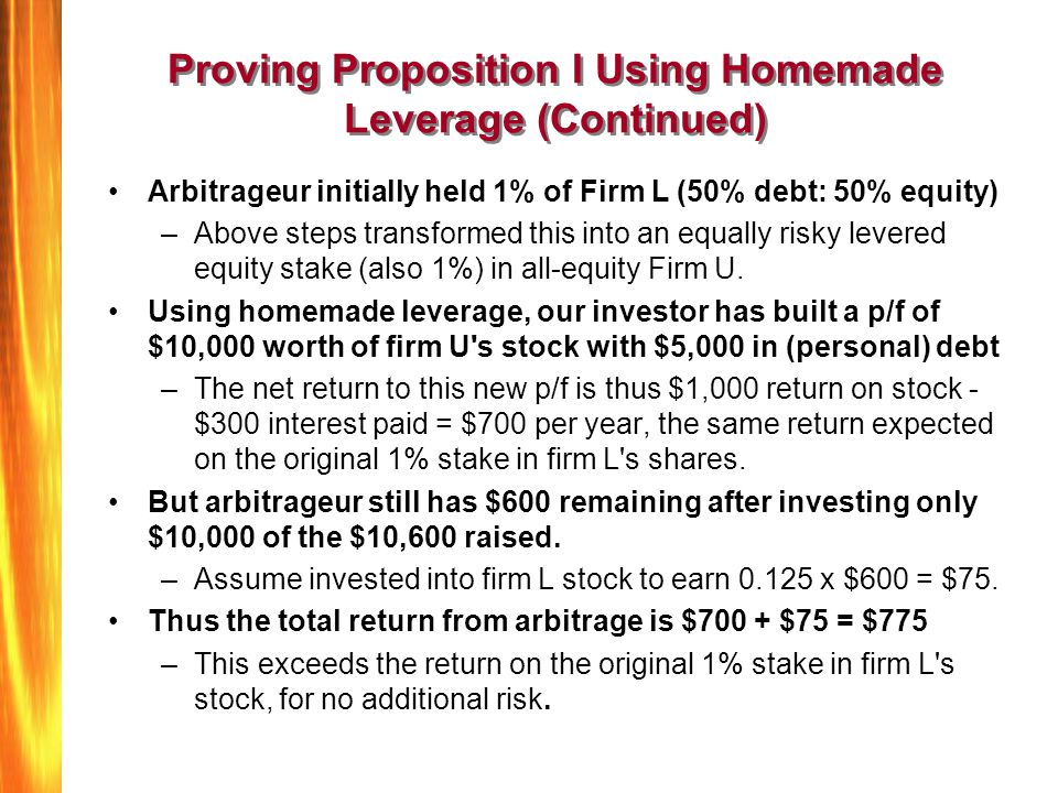 Proving Proposition I Using Homemade Leverage (Continued)