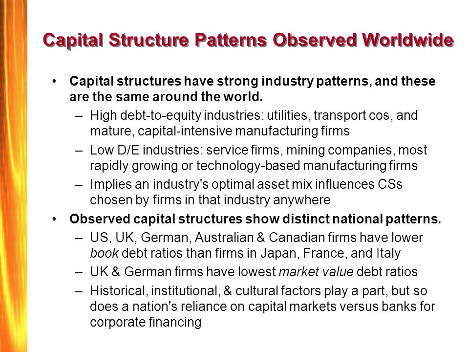 Capital Structure Patterns Observed Worldwide