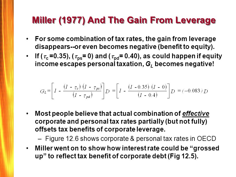 Miller (1977) And The Gain From Leverage