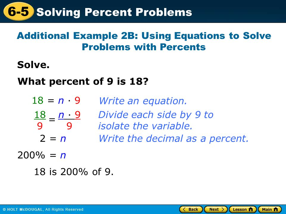 Additional Example 2B: Using Equations to Solve Problems with Percents