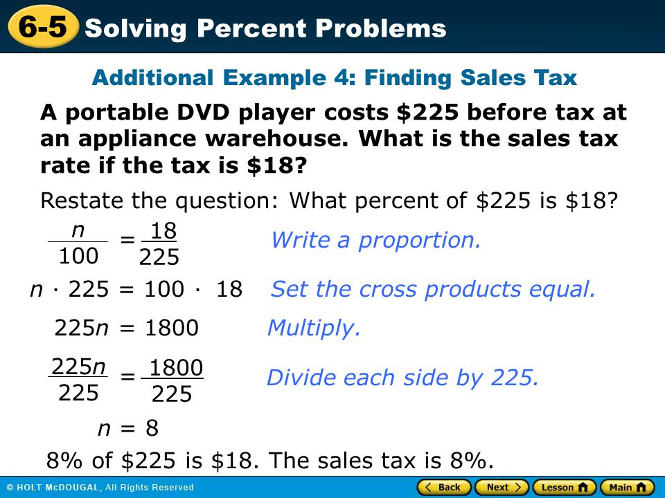 Additional Example 4: Finding Sales Tax