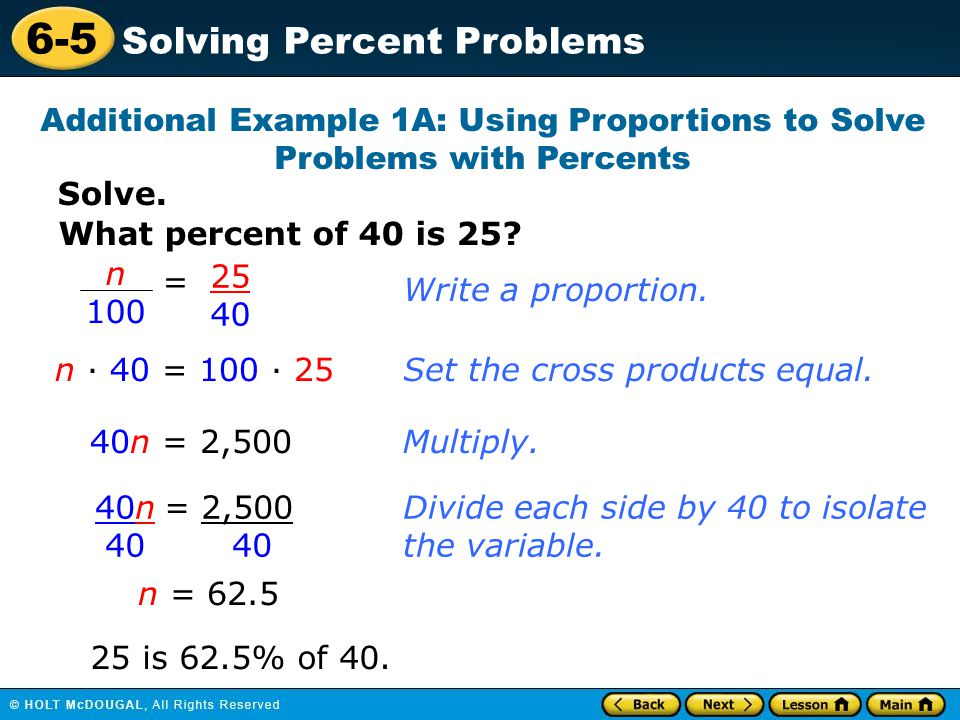 Additional Example 1A: Using Proportions to Solve Problems with Percents