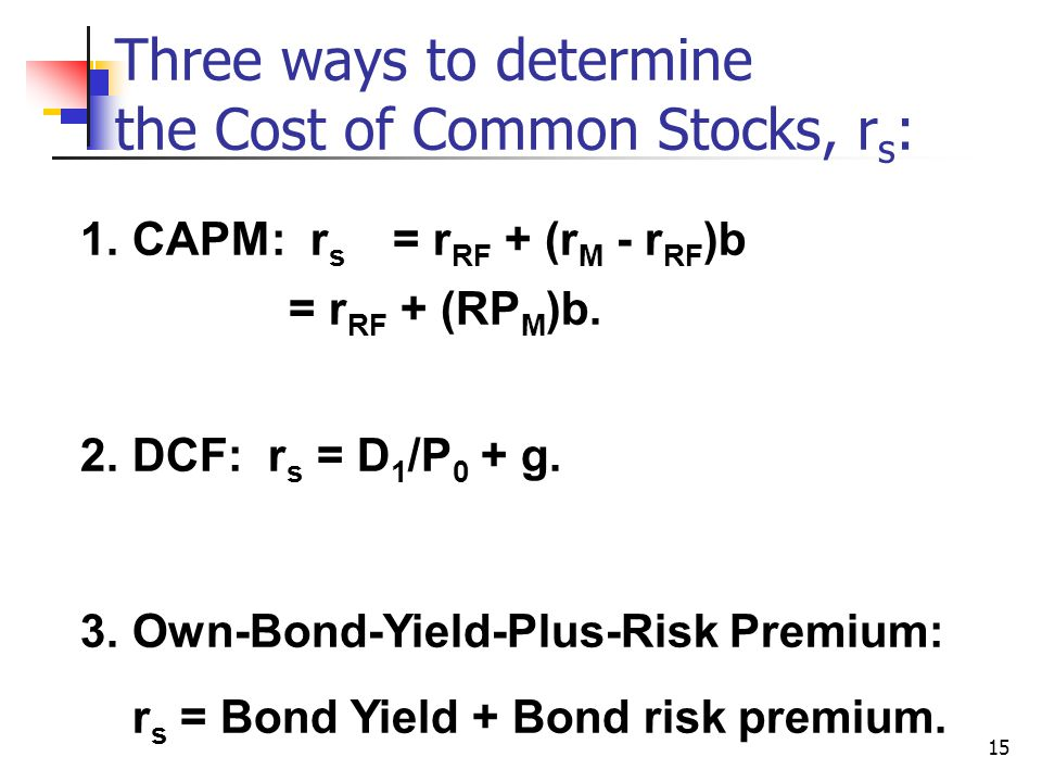 Three ways to determine the Cost of Common Stocks, rs: