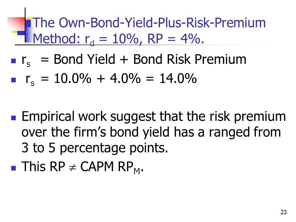 The Own-Bond-Yield-Plus-Risk-Premium Method: rd = 10%, RP = 4%.