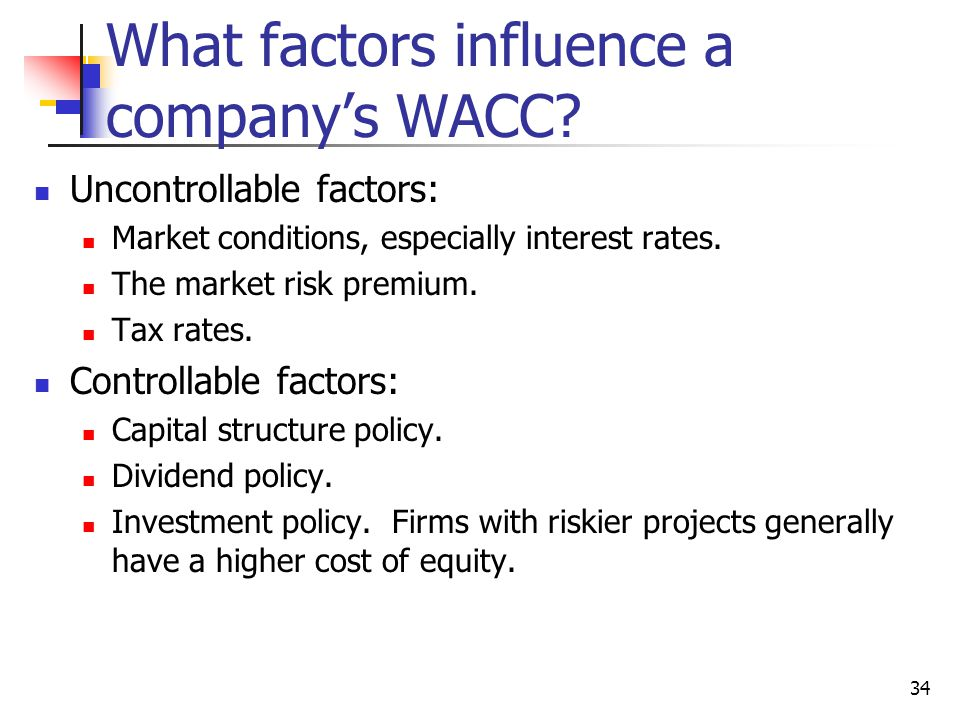 What factors influence a company's WACC