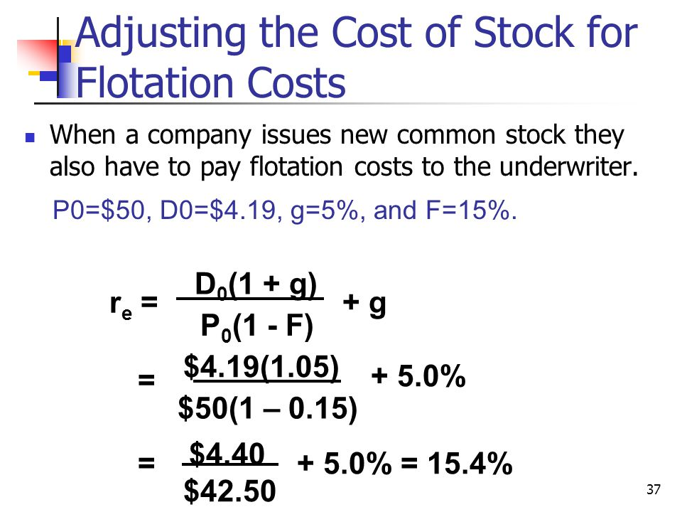 Adjusting the Cost of Stock for Flotation Costs