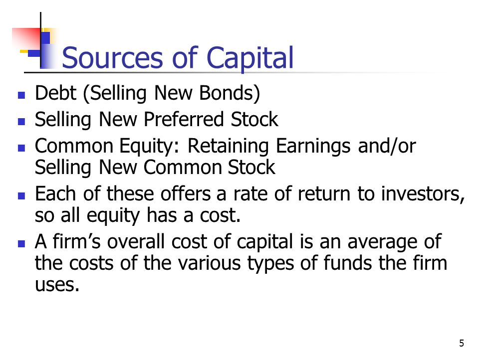 Sources of Capital Debt (Selling New Bonds)