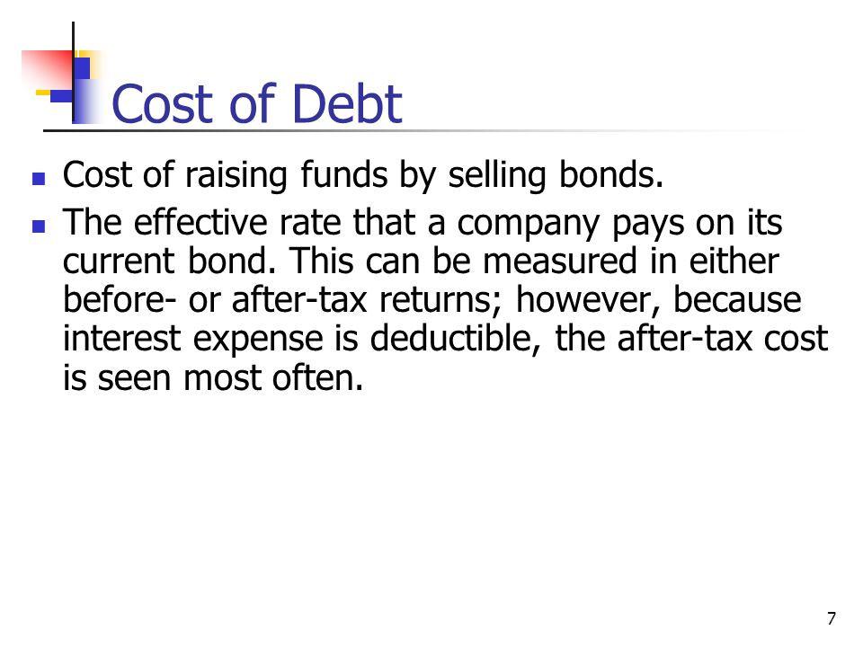 Cost of Debt Cost of raising funds by selling bonds.