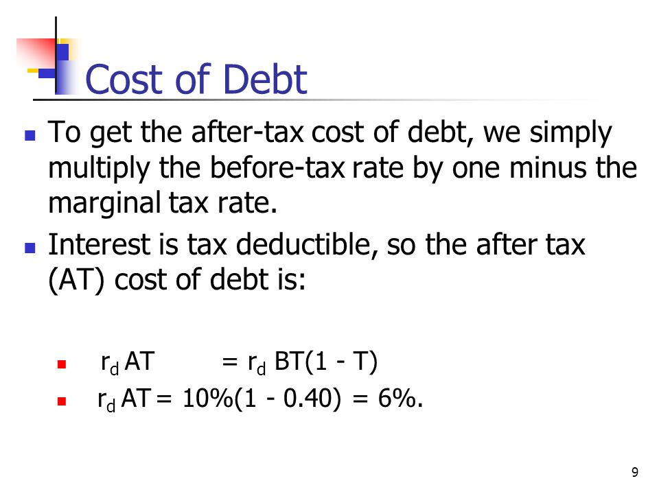 Cost of Debt To get the after-tax cost of debt, we simply multiply the before-tax rate by one minus the marginal tax rate.