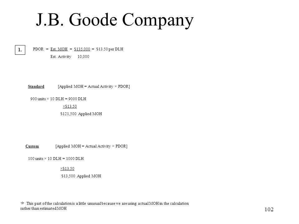 J.B. Goode Company 1. PDOR = Est. MOH = $135,000 = $13.50 per DLH
