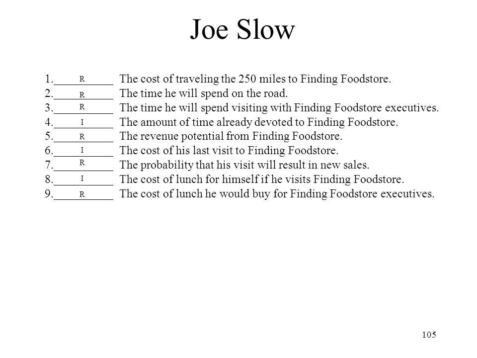 Joe Slow 1.__________ The cost of traveling the 250 miles to Finding Foodstore. 2.__________ The time he will spend on the road.