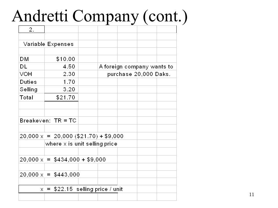 Andretti Company (cont.)
