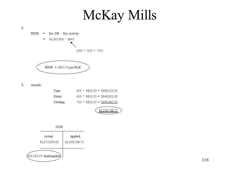 McKay Mills 1. 2. PDOR = Est. OH / Est. Activity = $1,335,000 / 1645