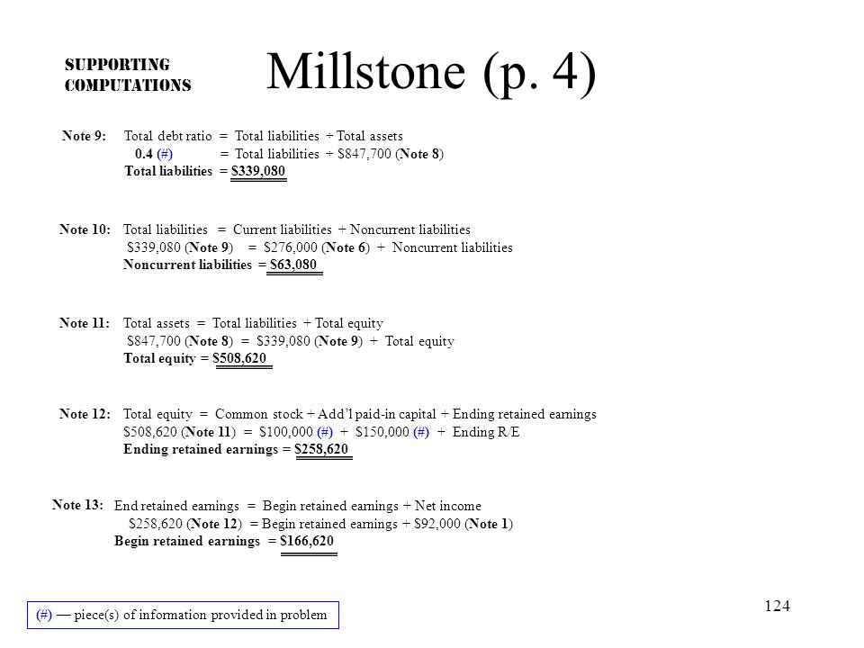 Millstone (p. 4) SUPPORTING COMPUTATIONS Note 9: