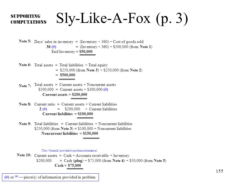 Sly-Like-A-Fox (p. 3) SUPPORTING COMPUTATIONS Note 5: