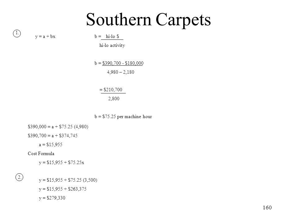 Southern Carpets 1. y = a + bx b = hi-lo $ hi-lo activity