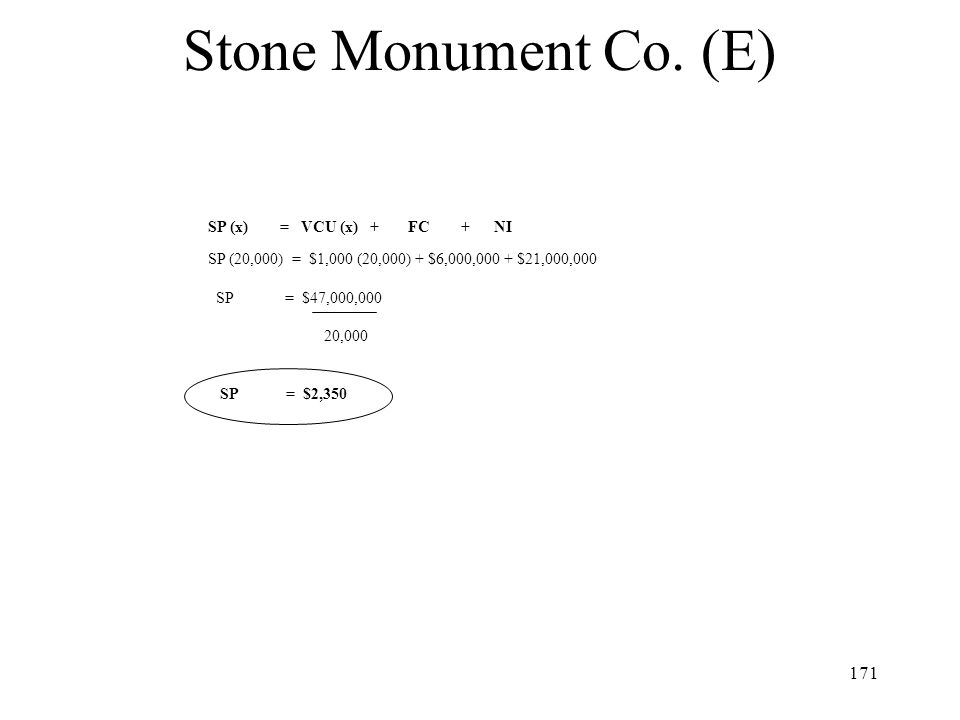 Stone Monument Co. (E) SP (x) = VCU (x) + FC + NI