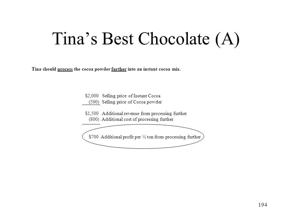 Tina's Best Chocolate (A)