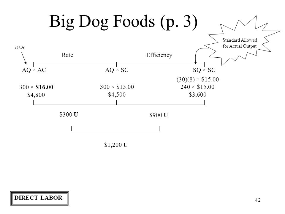 Big Dog Foods (p. 3) Rate Efficiency AQ × AC AQ × SC SQ × SC