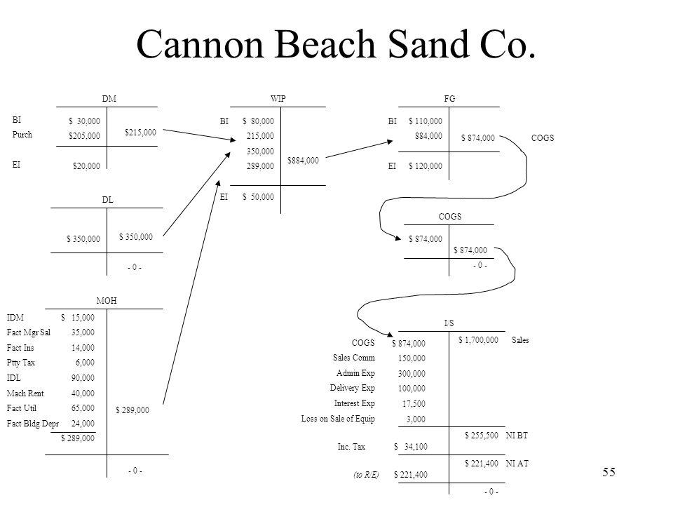 Cannon Beach Sand Co. DM WIP FG BI Purch EI $ 30,000 $205,000 $20,000