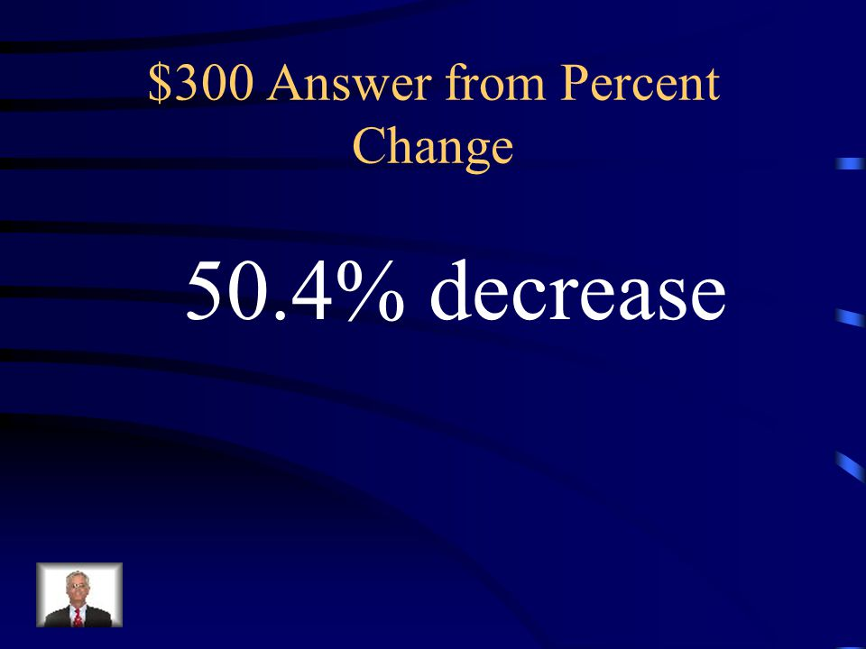 $300 Answer from Percent Change