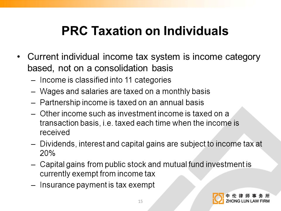 PRC Taxation on Individuals