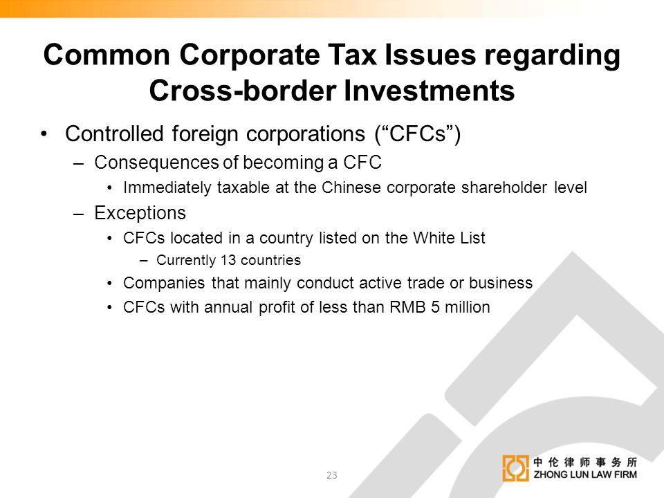 Common Corporate Tax Issues regarding Cross-border Investments