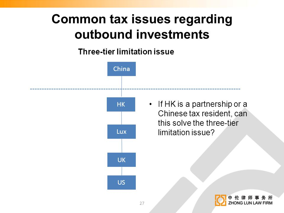 Common tax issues regarding outbound investments