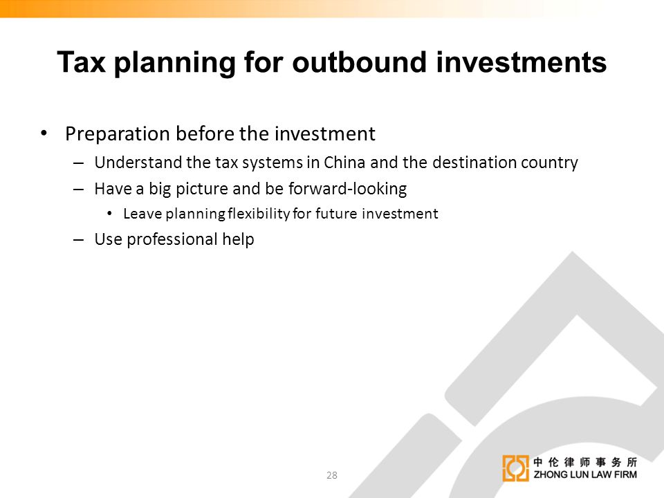 Tax planning for outbound investments