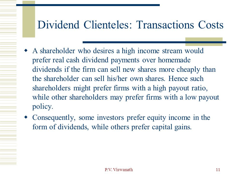 Dividend Clienteles: Transactions Costs