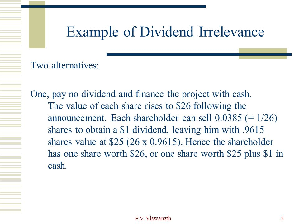 Example of Dividend Irrelevance