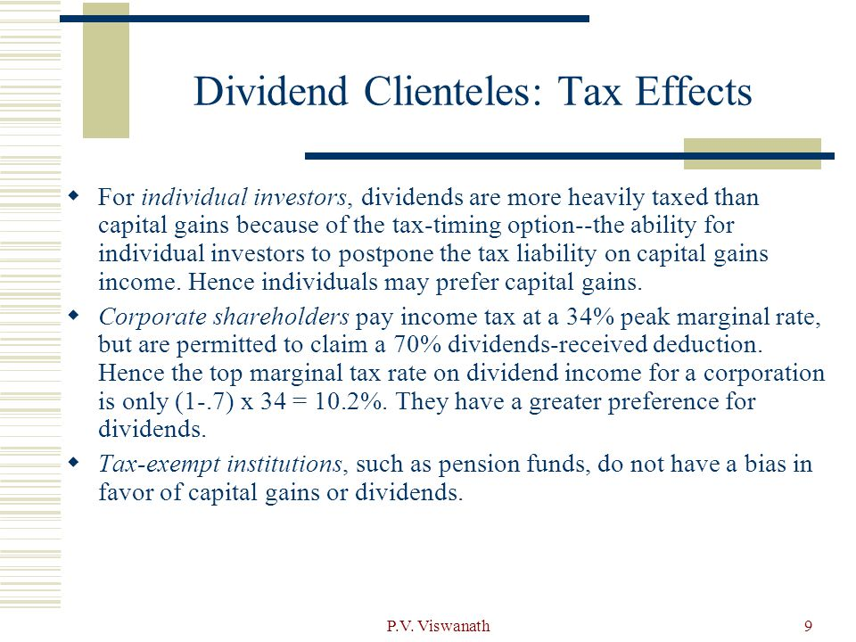 Dividend Clienteles: Tax Effects