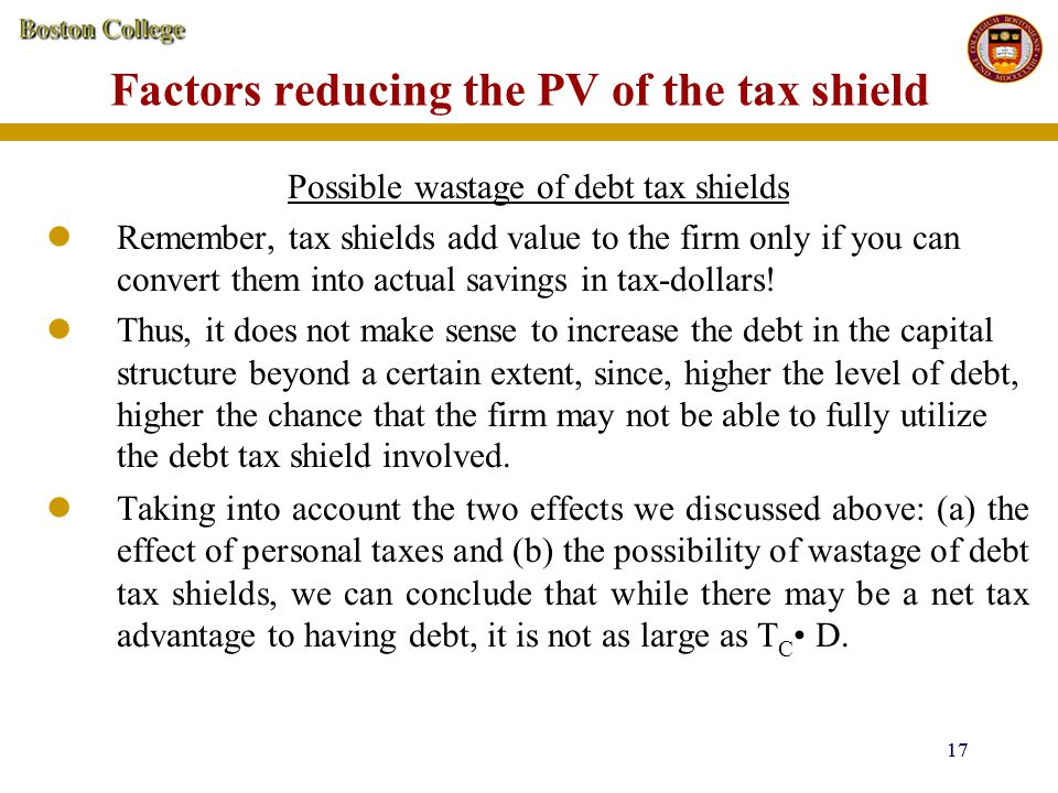 Factors reducing the PV of the tax shield