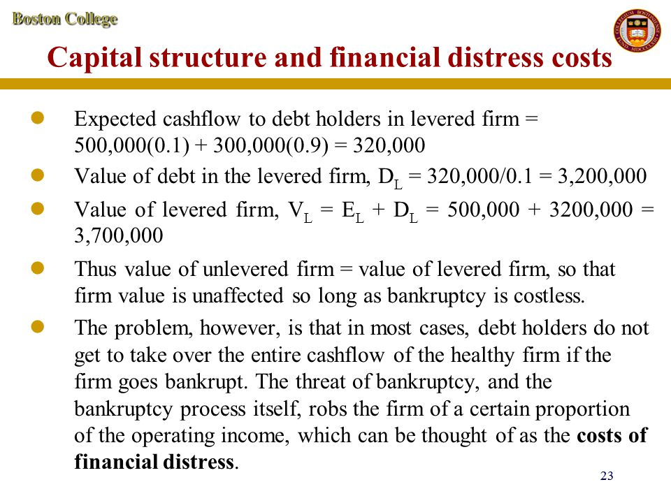 Capital structure and financial distress costs