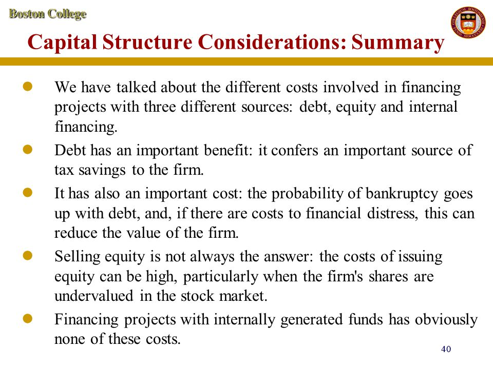 Capital Structure Considerations: Summary