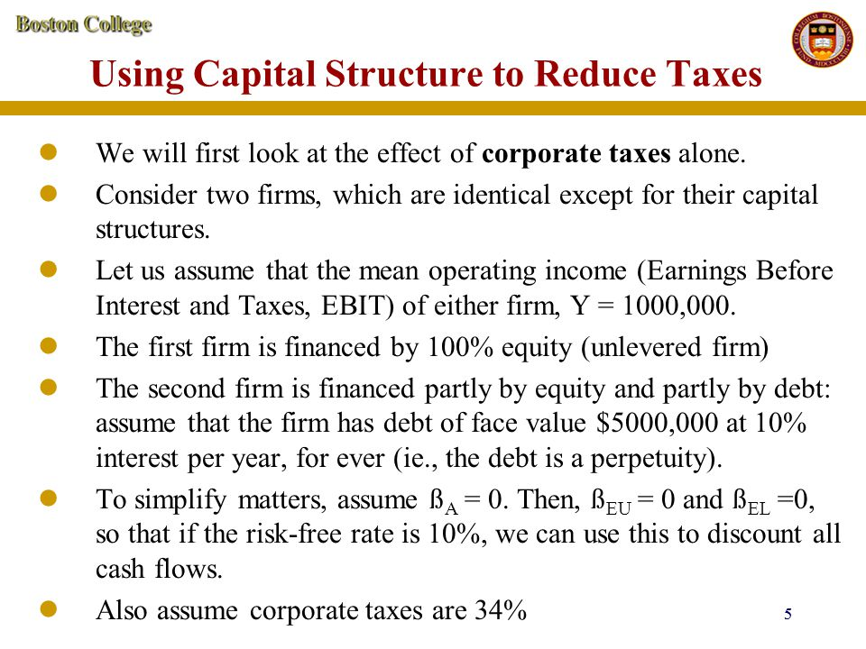 Using Capital Structure to Reduce Taxes