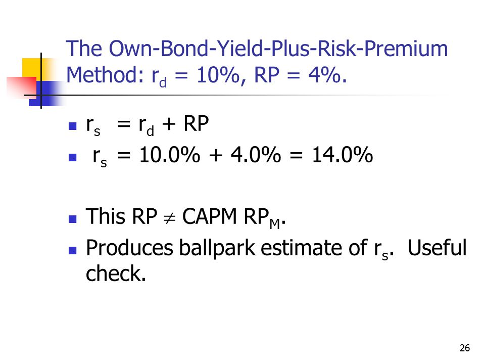 The Own-Bond-Yield-Plus-Risk-Premium Method: rd = 10%, RP = 4%.