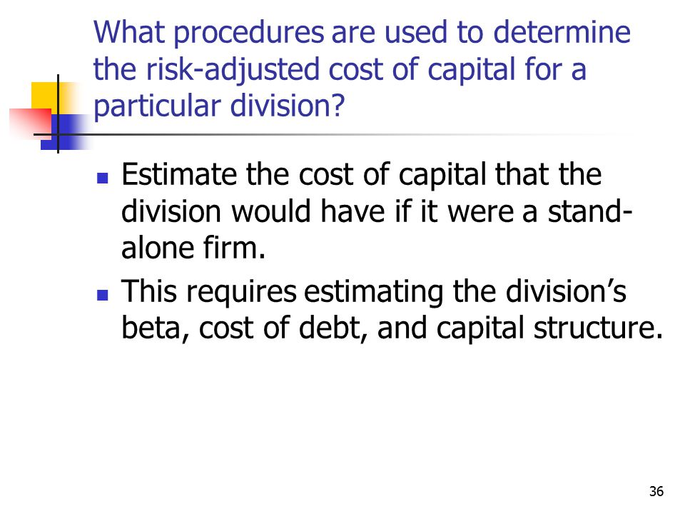 What procedures are used to determine the risk-adjusted cost of capital for a particular division