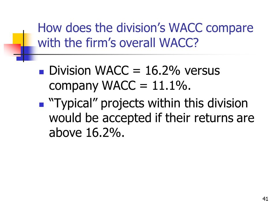 How does the division's WACC compare with the firm's overall WACC